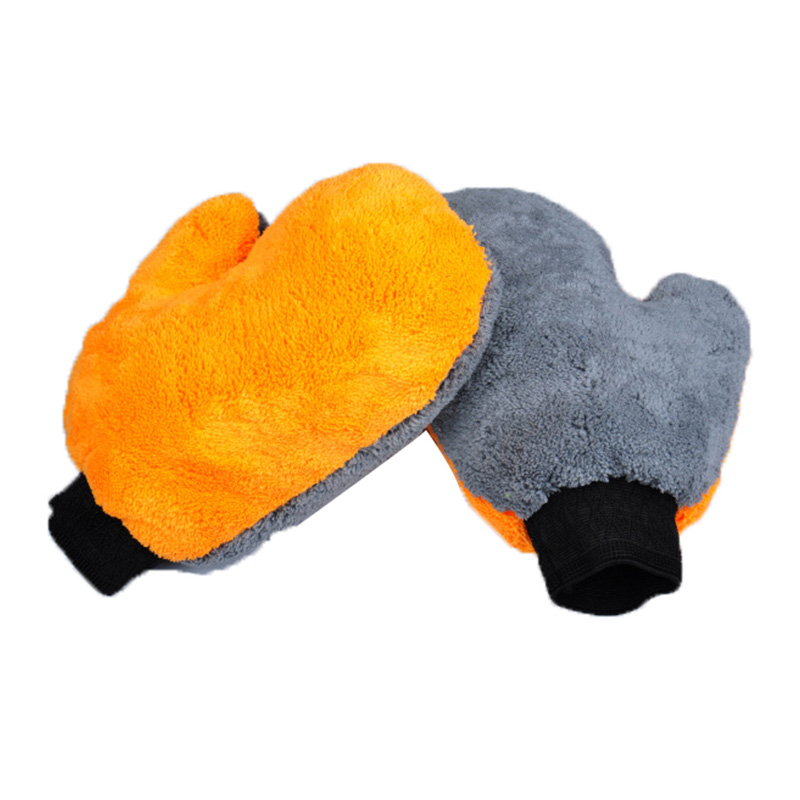 1 pair Car Wash Gloves double face coral fleece coral velvet thicken Cleaning Cloth Water Absorption Detail Dust cleaner wholesa
