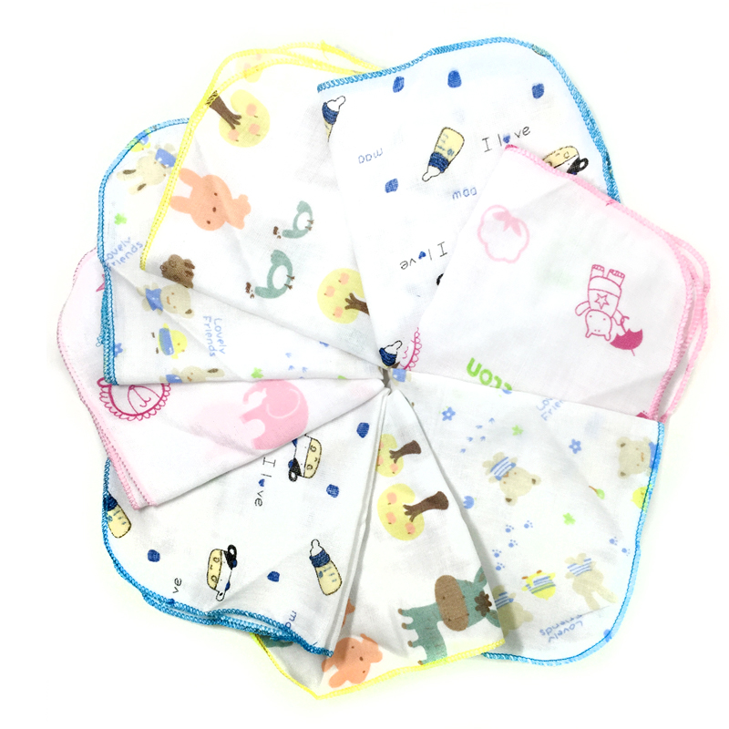 Y308 free shipping baby made of pure cotton gauze handkerchief saliva towel Double feeding baby washing a face towel wipes 25*25