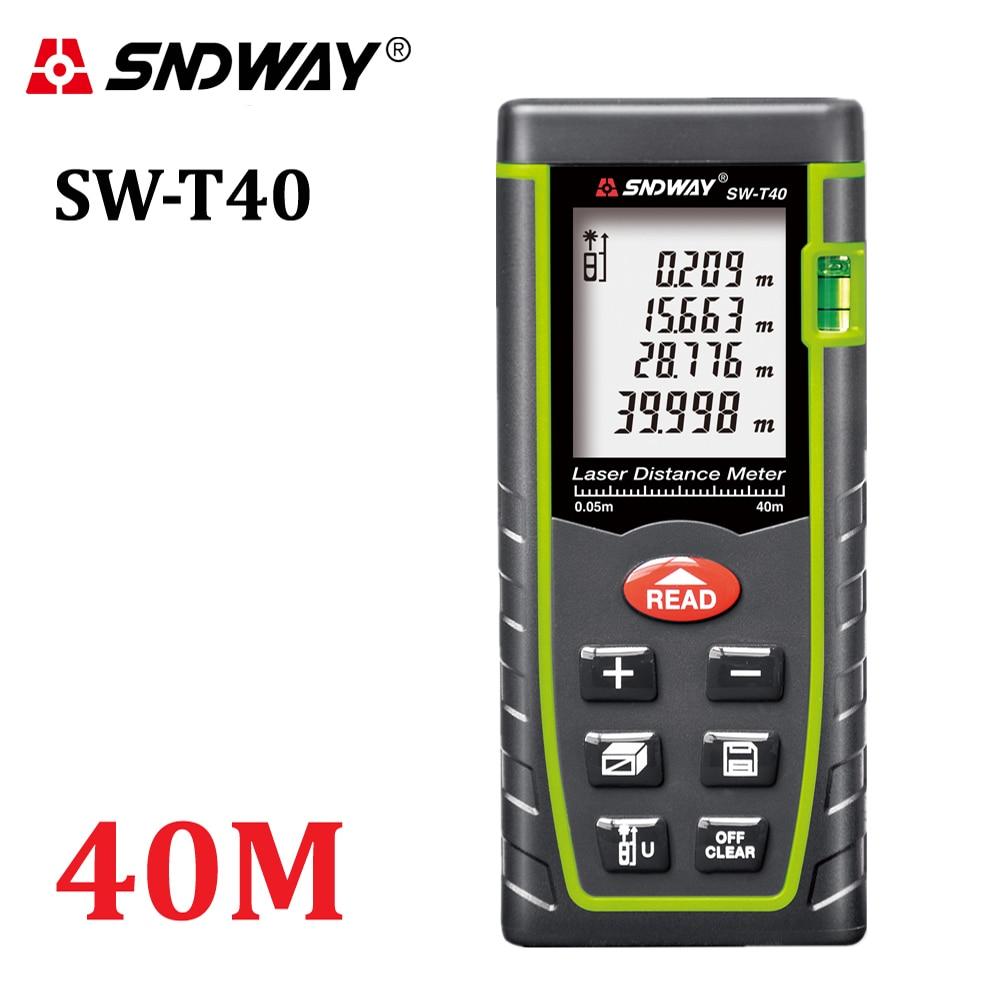 SNDWAY 40M Telémetro láser digital Medidor de distancia de mano de 131 pies trena Telémetro láser Herramientas de cinta métrica de área-volumen-ángulo