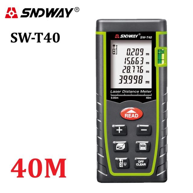 SNDWAY 40Mเลเซอร์Rangefinder 131ftมือถือระยะทางTrena Laser Range Finder ปริมาณมุมเทปวัดเครื่องมือ