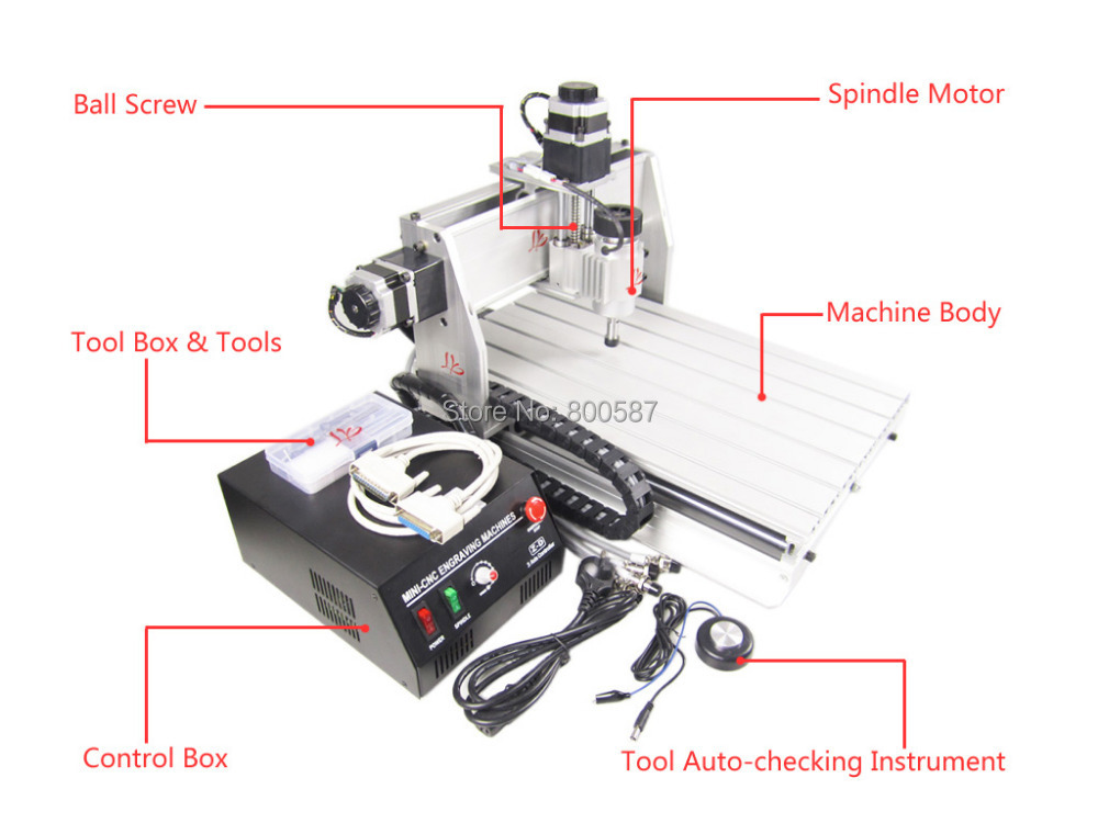 3 axis cnc router 3040 Z-DQ,  Ball Screw type, CNC engraving machine for cutting woods plastic, PCB etc. Free tax to EU free shipping cnc 3040 z dq 4 axis 3d wood engraving machine pcb carving router with ball screw tool auto checking instrument