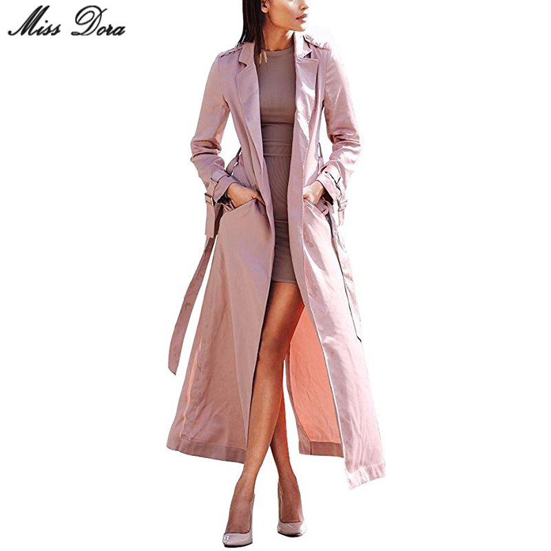 2017 new fashion Pink Long Sleeve Notched Sashes Bow Chic ...