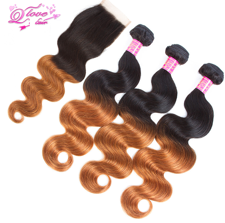 Queen Love Hair Pre-Coloed Non-Remy Body Wave Brazilian Ombre Hair Closure 1B/30 Human H ...