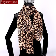 Women Scarf Shawl Capes Hijab Poncho Animal Leopard-Print Chiffon Brand Luxury Satin