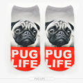 W38 New 3D Printed  Animal Unisex Cute Low Cut Ankle Socks Multiple Colors Harajuku Style pug life Man socks women