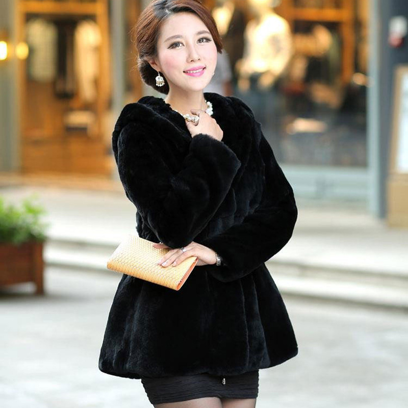 D'hiver De Automne Fourrure blanc 6xl Vison Garder À Furry noir Chaud Et Vêtements Imitation Manteau Dame Nouvelle Mode S Capuchon Au Rouge dxrCBoe