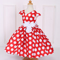 New Baby Girls Dress Black Dot Red Bow Infant Summer Dress for Birthday Party Toddlers Princess Floral Vestido Infantil 24M-8T