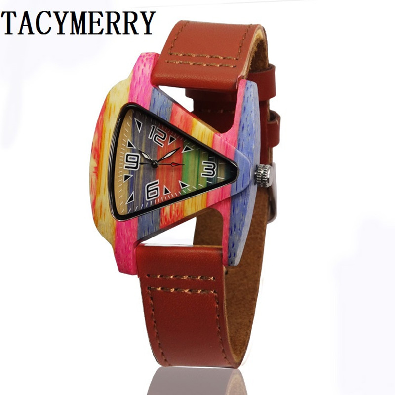 Newest Color of bamboo Wood Watch For Women  Fashion Tiangle  Wooden Wristwatch For Gifts Quartz Clock In a Box 2016 sport women s watches slim quartz bamboo wooden analog wrist watch wood band wooden wristwatch for women wood as gifts