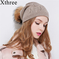 Xthree LCoconut Tree Embroider Women Winter Hat Knitted Wool Female Beanies Genuine Fur Pompom Cap