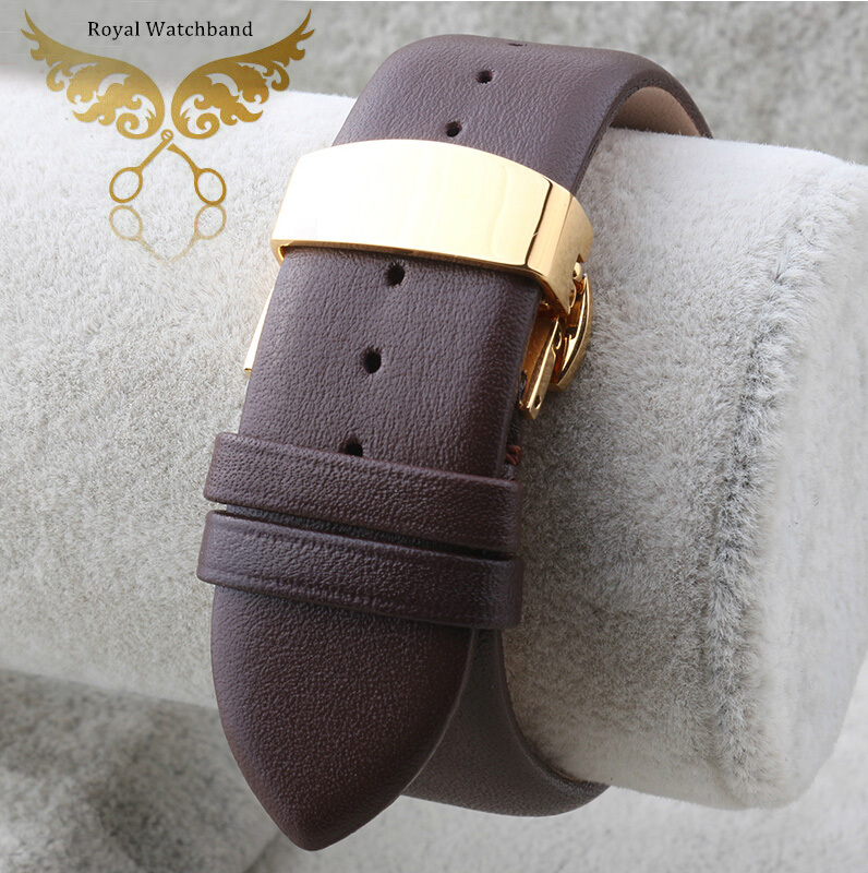 18mm 20mm 22mm Brown Soft Smooth Genuine Leather Watch Bands Strap Gold Butterfly Clasp Buckle For BRAND AR0154 AR1647 цена