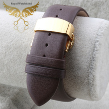 18mm 20mm 22mm Brown Soft Smooth Genuine Leather Watch Bands Strap Gold Butterfly Clasp Buckle For