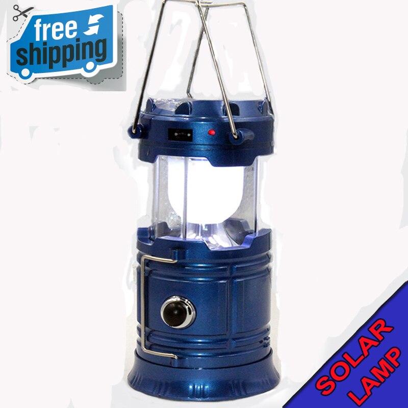 Blau USB aufladbare power wasserdicht 6 LED Taschenlampe outdoor camping Solar energie Tragbare laternen hand licht Camping