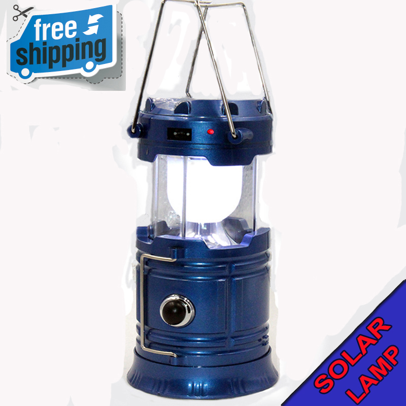 Blue USB rechargeable power waterproof 6 LED Flashlight outdoor camping Solar energy Portable lanterns hand light Camping