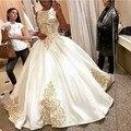 Золото Вышивка Старинные Свадебные Платья 2017 Бальное платье Без Рукавов Атласная Свадебные Платья Халат Де Mariée Bruidsjurk