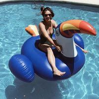 200cm Giant Inflatable Toucan Pool Float 2018 New Blue Ride On Pelican Inflatable Swimming Ring Water Mattress Summer Water Toys