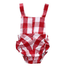 Grids Kid Baby Girls Clothes Summer Strapy Jumpsuit Bodysuit Classic Plaid Dot Newborn Kids Clothes Outfits(China)