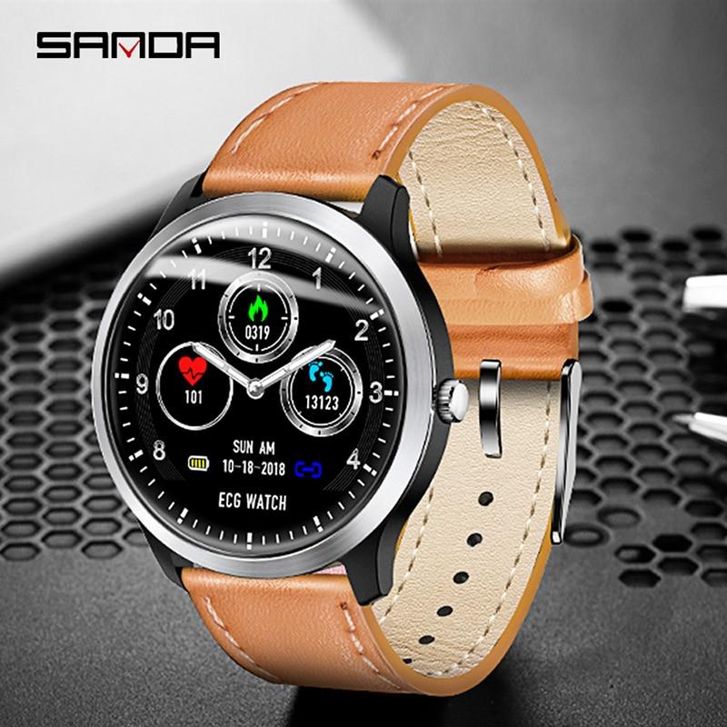 Sanda mode montre intelligente hommes Fitness Tracker montre étanche femmes montres Sport montre ECG bracelet en cuir horloge reloj hombre