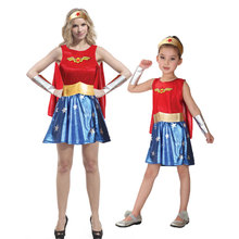 Umorden Purim Carnival Party Halloween Costumes Family Wonder Woman Cosplay Girl Costume Fancy Dress for Adult Kids