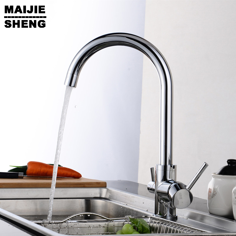 3 Way Double Function Filler Kitchen Faucet Three Way Tap For Water Filter Mixer Solid Brass Chrome Water Kitchen Faucet