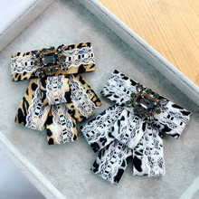 Korea Handmade Fabric Lace Leopard Bowknot Rhinestone Shirt Pins Neck Bow Tie Accessories Fashion Jewelry-YHNLB034F
