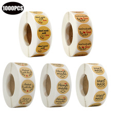 1000PCS handmade wich love stickers 1inch natural round kraft paper seal labels gift package for wedding decoration