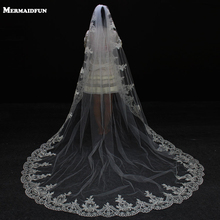 2017 Real Photos 3 Meters Lace Edge Long Wedding Veil with Comb One Layer Bridal Veil Velos De Novia Wedding Accessories