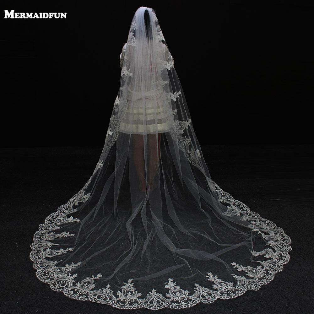 2019 Real Photos 3 metri mežģīņu mala garā kāzu plīvura ar ķemme vienu kārtu līgavas plīvurs Velos De Novia kāzu aksesuāri