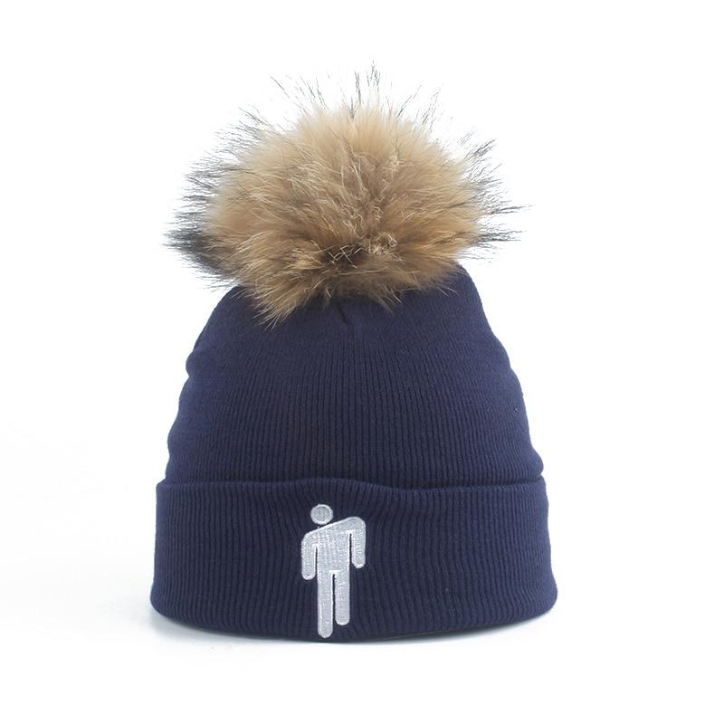 New Fashion Billie Eilish Beanie Hat Women Men Winter Cap Real Fur Pompom Beanies Harajuku Hip Hop Skullies Beanies