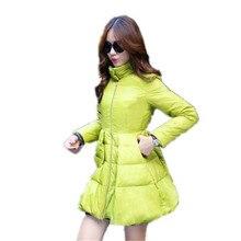 2016 Новая Зимняя Мода Стенд Воротник Пуховик Женщин Элегантный Pure Color Тонкий Теплый Плащ Типа Duck Down Пальто Куртка A1510