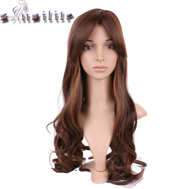 S-noilite 100% Real Natural Hairpiece 22inches Ombre brown coffee Hair Wig  Synthetic Wigs 902e2d3fa0