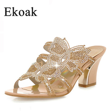 Ekoak new 2016 women wedge sandals fashion rhinestone cutout slippers summer shoes woman with butterfly women high heel sandals