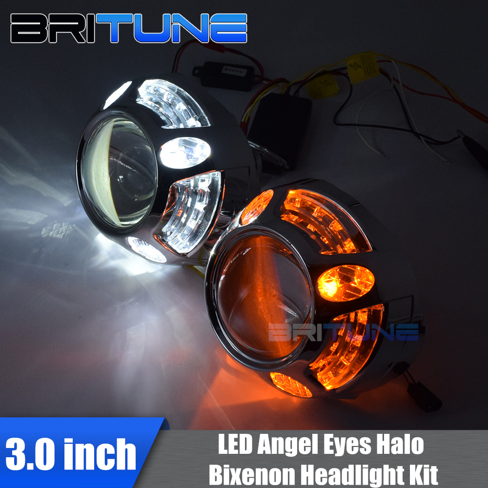3.0 HID Bi-xenon Projector Lenses Accessory With Turn Signal LED Angel Eye DRL Halo Ring Shrouds For H4 H7 Cars Headlight Tuning