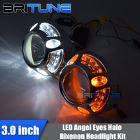 3.0 HID Bi xenon Projector Lenses Accessory With Turn Signal LED Angel Eye DRL Halo Ring Shrouds For H4 H7 Cars Headlight Tuning