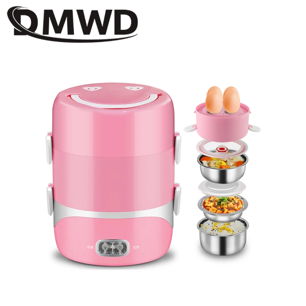 DMWD Electric 3 layers lunch box Heating Food Container Steamer Mini Rice Cooker Meal Warmer Stainless Steel liner lunchbox EU bear dfh s2516 electric box insulation heating lunch box cooking lunch boxes hot meal ceramic gall stainless steel