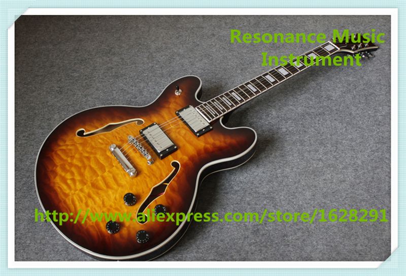 Hot Selling China Vintage Sunburst Quilted Finish ES 335 Electric Guitar With Hollow Maple Guitar Body For Sale hot selling china quilted finish musicman ax 40 electric guitar with chrome floyd rose tremolo for sale