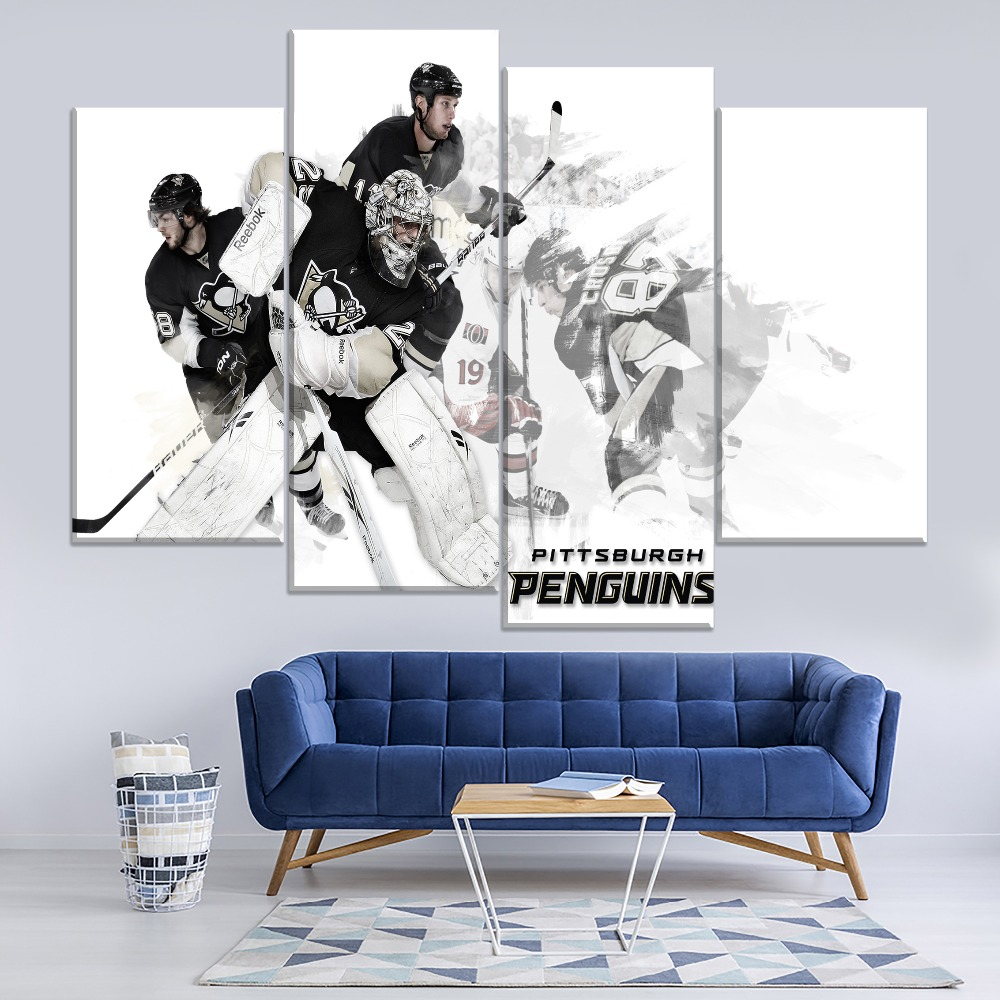 Defenseman Team Sport Hockey Protective Equipment Painting 4 Piece Style Picture Canvas Print Type Decor Wall Artwork Poster
