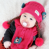 2pcs Sets Winter Warm Cute Cartoon Crochet False Braids Knitted Cap Baby Hat Scarf Newborn Girls