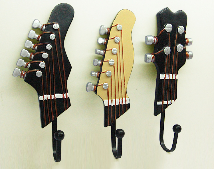 Personality Guitar Wall Hook Decoration Fashion Coat Hooks Hat Coat Fascinating Coat Rack With Hangers