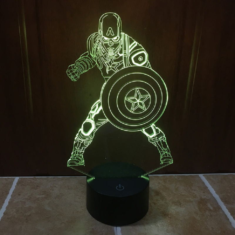 7 color change Captain America USB LED 3D Night Light with touch Sensor Creative Christmas Gifts