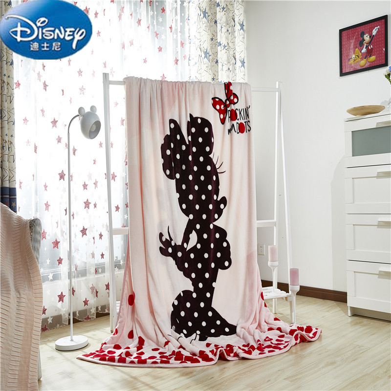 Disney Authentic Minnie Two Layers Of Blankets Throws Bedding 200x230CM Size Kids Bed Home Bedroom Decoration Thickening 2.7Kg.