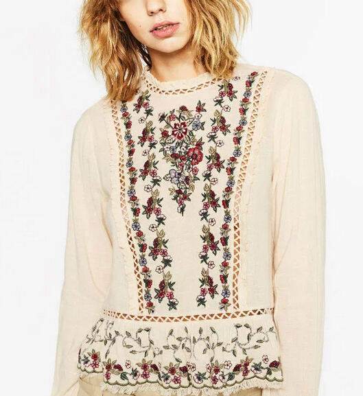 2016 Women Elegant Vintage Lace Hollow Out Long Sleeve Blouse Retro Vestidos Floral Embroidery Ruffle Casual Shirts Blusas