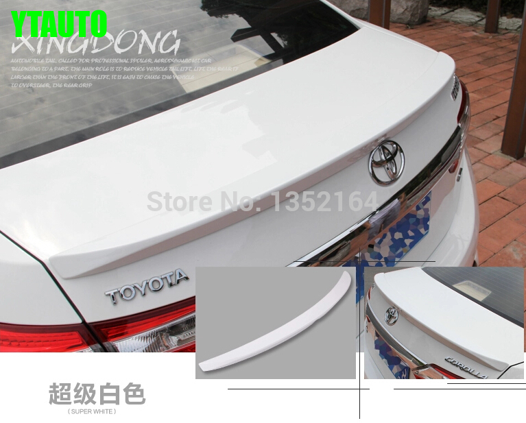 цена на Auto abs painted rear spoiler for toyota corolla 2014 2015,auto accessories,6 colors to choose