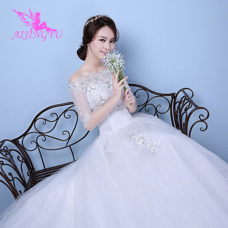 AIJINGYU 2018 real photos free shipping new hot selling cheap ball gown lace up back formal bride dresses wedding dress WK354
