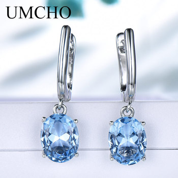 450cce025 UMCHO de piedras preciosas de Topacio Azul pendientes de Clip pendientes  largos aretes pendientes para las mujeres genuino Plata de Ley 925 de moda  ...