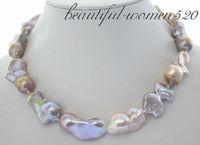 Z3550 A+huge 35mm nature multicolor keshi reborn pearl necklace