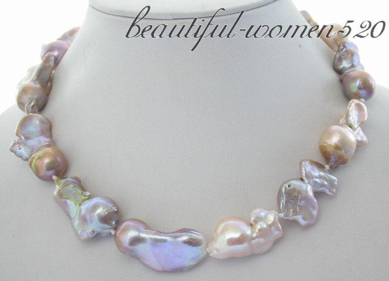Z3550 A+huge 35mm nature multicolor keshi reborn pearl necklace z3550 a huge 35mm nature multicolor keshi reborn pearl necklace