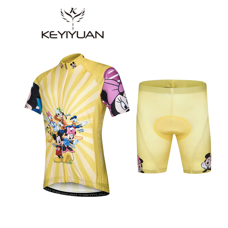 Hot Child cycling Jersey Shorts sets Yellow pro Kids Cycling Clothing Riding Bicycle Jersey Mickey Family Ciclismo Boy and girl