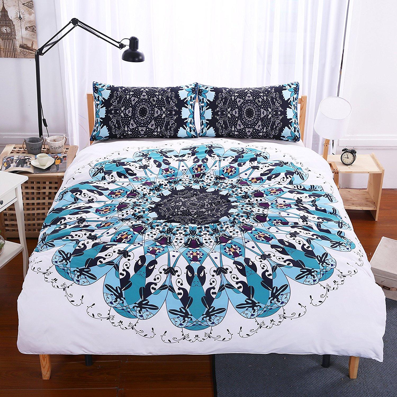 TOUR chaud 4 pièces DHL troisième oeil Mandala housse de couette bleu noir géométrique Art ensemble de literie médaillon ensemble de lit