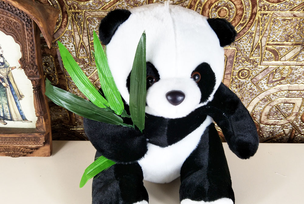 bolafynia children plush stuffed toys animal panda eating bamboo