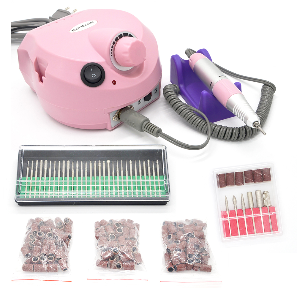 Free shipping wholesale Electric Nail Drill Art Equipment Glazing Manicure Machine 6 Bits Kit Tools With